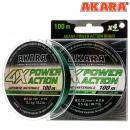 Шнур Akara Power Action X-4 Green 100 м 0,14