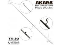 Хлыст углепластик для спиннинга Akara SL1001 Black Shadow 802MLF TX-30 (3,5-10,5) 2,44 м